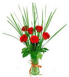 Uşak çiçek , çiçekçi , çiçekçilik  6 adet kırmızı güllerden vazo çiçeği