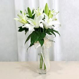 Uşak anneler günü çiçek yolla  2 dal kazablanka ile yapılmış vazo çiçeği