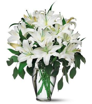 Uşak internetten çiçek satışı  4 dal kazablanka ile görsel vazo tanzimi