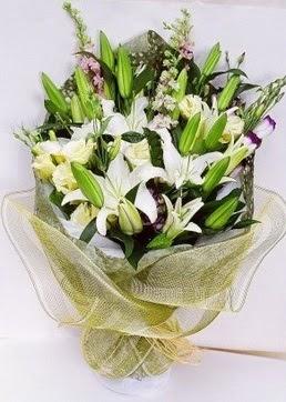 Uşak çiçek servisi , çiçekçi adresleri  3 adet kazablankalardan görsel buket çiçeği