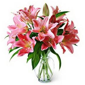 3 dal kazablanka görsel vazosu  Uşak internetten çiçek siparişi