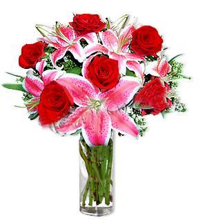 Uşak çiçek yolla  1 dal cazablanca ve 6 kırmızı gül çiçeği