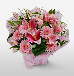 1 dal kazablanka ve kır çiçek görsel buketi  Uşak internetten çiçek satışı