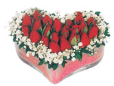 Uşak çiçekçi telefonları  mika kalpte kirmizi güller 9