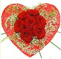 Mika kalp içerisinde 7 adet kırmızı gül  Uşak çiçekçi mağazası