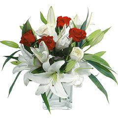 vazo içerisinde 4 gül 1 adet kazablanka  Uşak online çiçek gönderme sipariş