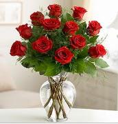 Vazo içerisinde 12 kırmızı gül  Uşak çiçek satışı