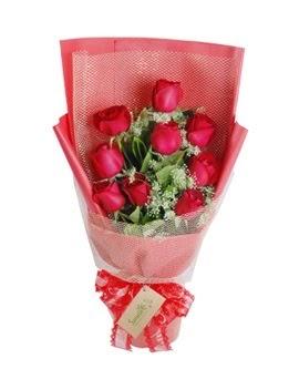 9 adet kırmızı gülden görsel buket  Uşak ucuz çiçek gönder