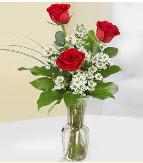 Vazo içerisinde 3 adet kırmızı gül  Uşak çiçek satışı