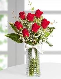 Cam vazoda 7 adet kırmızı gül  Uşak çiçek , çiçekçi , çiçekçilik