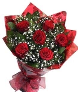 6 adet kırmızı gülden buket  Uşak yurtiçi ve yurtdışı çiçek siparişi