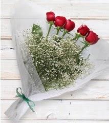 5 kırmızı gülden sade buket  Uşak çiçek yolla