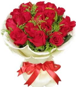 19 adet kırmızı gülden buket tanzimi  Uşak çiçek servisi , çiçekçi adresleri
