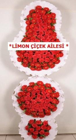 3 katlı kırmızı düğün açılış çiçeği  Uşak çiçek gönderme