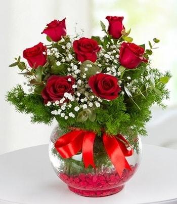 fanus Vazoda 7 Gül  Uşak çiçek , çiçekçi , çiçekçilik
