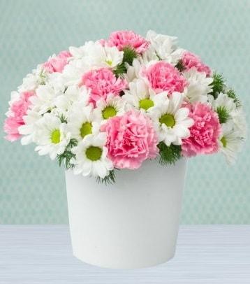 Seramik vazoda papatya ve kır çiçekleri  Uşak çiçek siparişi sitesi