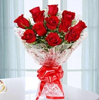 11 adet kırmızı gülden görsel şık buket  Uşak ucuz çiçek gönder