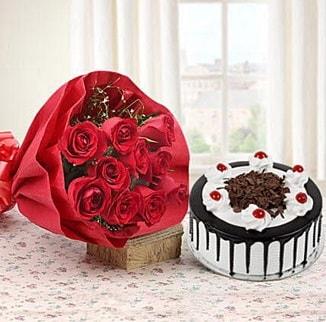 12 adet kırmızı gül 4 kişilik yaş pasta  Uşak çiçek , çiçekçi , çiçekçilik