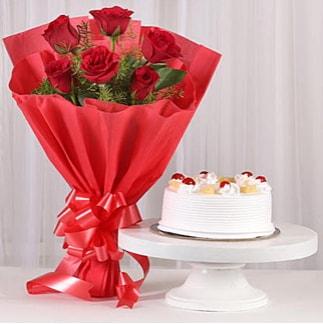 6 Kırmızı gül ve 4 kişilik yaş pasta  Uşak çiçek , çiçekçi , çiçekçilik