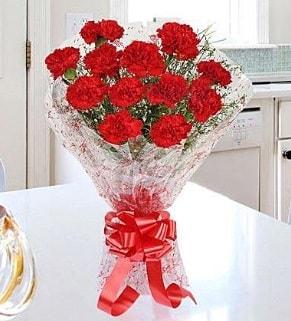 12 adet kırmızı karanfil buketi  Uşak İnternetten çiçek siparişi