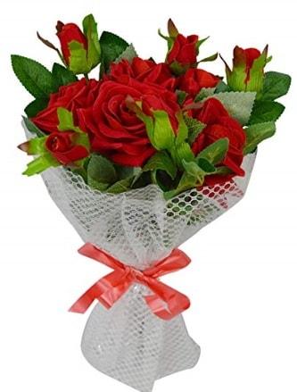 9 adet kırmızı gülden sade şık buket  Uşak çiçekçi telefonları