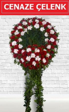 Kırmızı Beyaz Çelenk Cenaze çiçeği  Uşak İnternetten çiçek siparişi