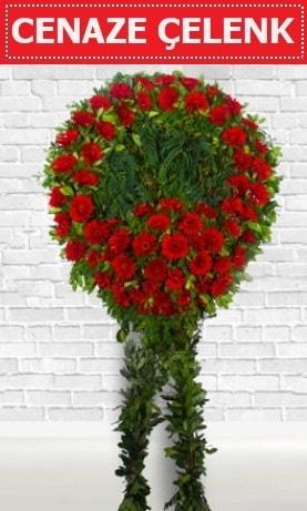 Kırmızı Çelenk Cenaze çiçeği  Uşak İnternetten çiçek siparişi