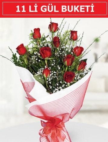 11 adet kırmızı gül buketi Aşk budur  Uşak çiçek gönderme sitemiz güvenlidir