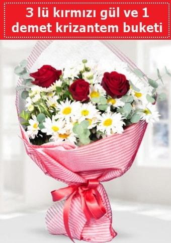3 adet kırmızı gül ve krizantem buketi  Uşak çiçek gönderme sitemiz güvenlidir
