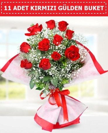 11 Adet Kırmızı Gül Buketi  Uşak internetten çiçek siparişi