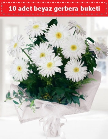 10 Adet beyaz gerbera buketi  Uşak çiçek , çiçekçi , çiçekçilik