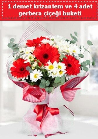 Krizantem ve Gerbera Buketi  Uşak çiçek siparişi sitesi