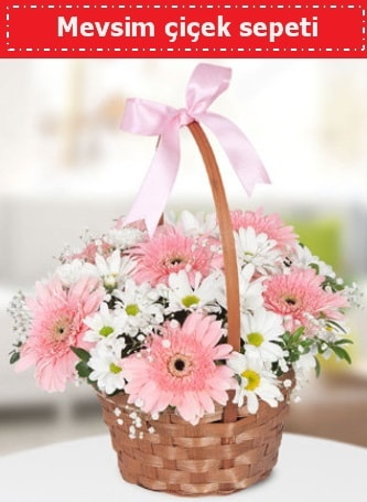 Mevsim kır çiçek sepeti  Uşak çiçek , çiçekçi , çiçekçilik