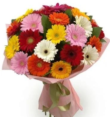 Karışık büyük boy gerbera çiçek buketi  Uşak çiçek satışı
