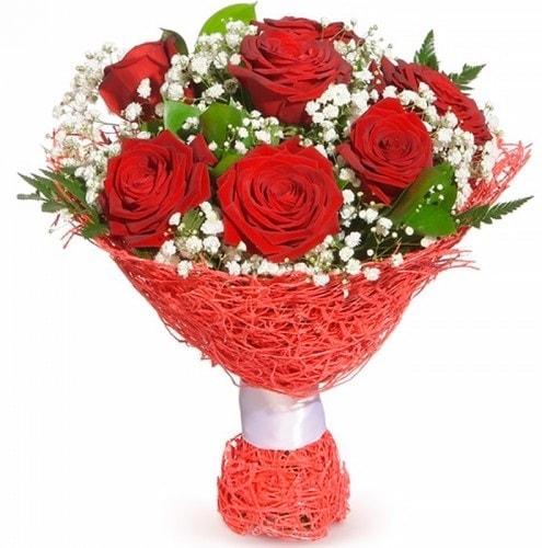 7 adet kırmızı gül buketi  Uşak çiçekçiler