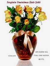 Uşak internetten çiçek satışı  mika yada Cam vazoda 12 adet sari gül
